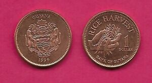 GUYANA 1 DOLLAR 1996 UNC HAND GATHEREING RICE,HELMETED & SUPPORTERS ARMS  KM
