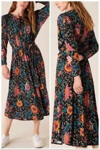 Monsoon - Velvet Trim Floral Jersey Midi Dress - Green - Size M or L (BNWT)