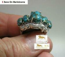 7.24 ct Blue Turquoise, Diamond Platinum Silver Ring   * ( was $389.95 )
