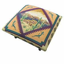 Sedona Sunset Kokopelli Desert Cactus Adobe Houses Tapestry Square Footstool