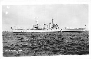 H60/ Ship RPPC Postcard U.S.S. Honolulu Light Navy Cruiser Ship 106