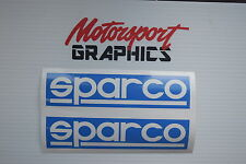 "Sparco Stickers  x2 LARGE 8""x 2""  Sparco Blue Race Trackday Motorsport Rally"