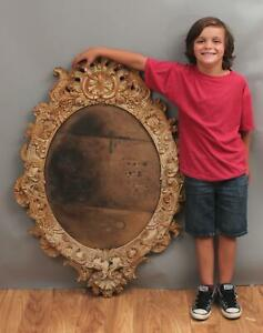 Huge 32x44in Antique 19thC Fancy Victorian Cast Iron Mirror Frame, NR