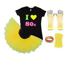 I Love 80s Neon Tutu Skirt 80's Fancy Dress Fluorescent Colours Hen Party Beads