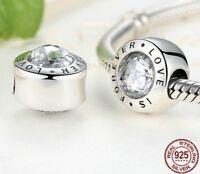 Genuine 925 Sterl. Silver Charm Bead LOVE is Forever - nice on Pandora bracelet