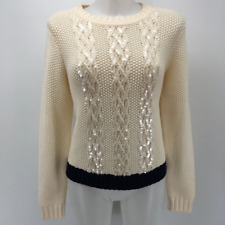 St John Ivory Fisherknit Sweater Medium