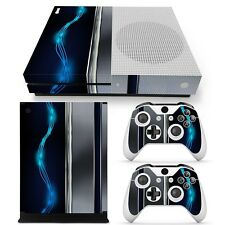 Xbox One S Console Skin Decal Sticker Blue Silver Metal + 2 Controller Design