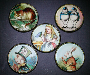 Glass Dome Button Set of 5 Alice in Wonderland Cat Rabbit  etc. FREE US SHIPPING