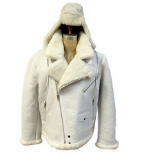 SET MEN'S WHITE GENUINE SHEARLING SHEEPSKIN RACING AVIATOR JACKET & A HAT, 2XL
