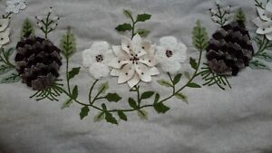 PIER 1 Pinecone Poinsettia Embroidery Embellished Beige Beaded Tree Skirt 52""
