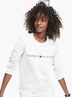 Tommy Hilfiger Womens Designer Essential Logo Sweatshirt White Size S