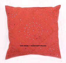"Indian Mirror Embroidered Zipper Closure Cotton Cushion Cover Red Sofa Decor 24"""