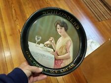 early Schlosser's Oak Grove Ice Cream Adv Tray from Indiana,Pretty lady Eating