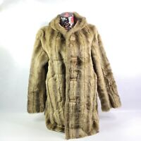 Dennis Basso Womens Reversible Coat Large Faux Fur and Suede Hooded