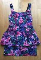Oasis Mini Dress Floral Pattern Peplum Size 8 S Occasion Wedding Prom Club