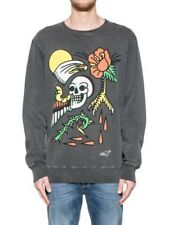 Diesel S-Joe-As-Felpa Grey Multicoloured Skull Print Sweater Size S RARE!!!!