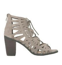 $90 New Very Volatile Anabelle Heeled 9Taupe Leather Women Zip Laces Chic Sandal