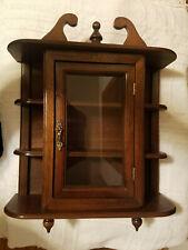"Vintage 17"" Curio Cabinet Wood Glass Door Table Top Wall Hanging Display 3 Shelf"