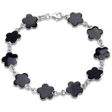 Black Onyx Shell Flower .925 Sterling Silver Bracelet 7""