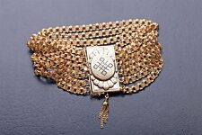 "Antique Victorian 1800s Handmade 7 Strand 14k Yellow Gold Bracelet 47g RARE 8"""