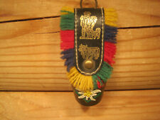 """Vintage Small Austria 1 1/2"""" Souvenir Brass Bell With Colorful Fringe Strap"""