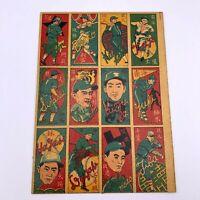 Vintage Japanese Baseball Rare Menko Card  uncut sheet