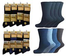12 Paia Uomo Non Elastico 100% Puro Calzini di Cotone Comfort Morbidi