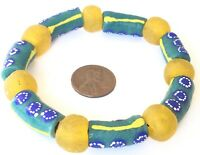 Ghana Handmade multi colored recycled glass bracelet- African Trade Beads
