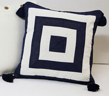 Cushion Cover Navy Blue Off White Stripe Tassels Cotton Hamptons Throw Daybed