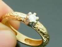 9ct Gold  Diamond  Solitaire Ladies Patterned Band Hallmarked ring size K