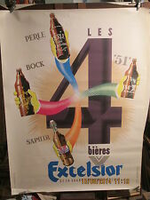 AFFICHE   ANCIENNE BIERE EXCELSIOR  ANIMEE BOUTEILLES