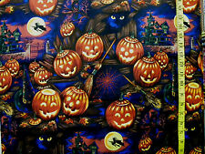 BLACK CATS WITCHES HALLOWEEN HENRY PRINT 100% COTTON FABRIC  BY THE 1/2 YARD