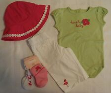 GYMBOREE Girls 3-6 Month Flamingo Flowers Hat Pant Bodysuit Socks Outfit NWT