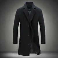 Men's Long Trench Wool Winter Warm Overcoat Casual Jacket Outwear Coat Stylish