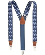 $85 CLUB ROOM Men's BLUE WHALE PRINTED ELASTIC STRETCH METAL CLIP-ON SUSPENDERS