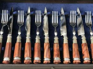 Premium Argentine Gaucho Cutlery Set - Deer Antler Handle - Forged Stainless Ste