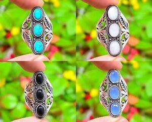 Tibetan Turquoise,Moonstone,Mix Gemstone 925 Sterling Silver Ring Variation