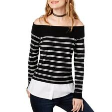 INC NEW Women's Black Striped Off-the-shoulder Layered Look Sweater Top TEDO