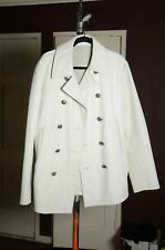 Gianni Versace White Men's Leather Jacket Coat Large