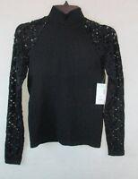 BONGO Juniors Medium Top, Shirt, Lace Sleeves, Seamless, Mock Neck, Stretch A1Q