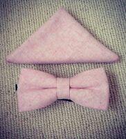 Vintage Pink Blush Tweed Pre-Tied Bow Tie & Pocket Square Set. UK.
