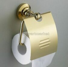 Gold Color Brass Toilet Paper Holder Wall Mounted Bathroom Roll Tissue Storage