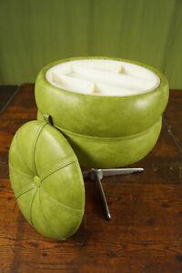 60er Vintage Hocker Sitzhocker Nähkasten Retro Sitzkissen Pouf Ottomane grün 70s