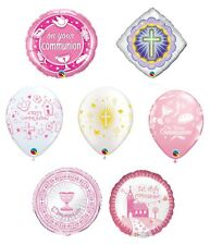 First/1st Holy Communion PINK/GIRL Qualatex Latex Foil Religious Party Balloons