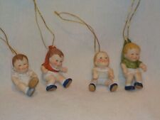 2 Crying & 2 Grumpy Porcelain Babies Hanging Ornaments
