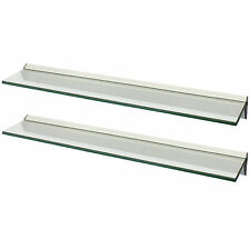 HARTLEYS PAIR 80x15cm CLEAR FLOATING GLASS WALL SHELVES STORAGE/DISPLAY SHELF