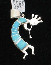 Navajo Indian Pendant Calvin Begay Kokopelli Turquoise & Opal Sterling Silver An