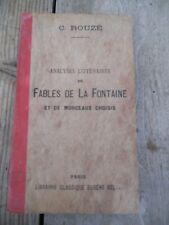 C. Rouzé: Analyses littéraires de Fables de La Fontaine/ Eugène Belin, 1919