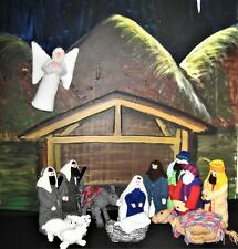 KNITTED NATIVITY, 14 FIGURES INCLUDING DONKEY CAMEL AND ANGEL