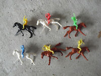 Lot of 6 Small Vintage Plastic Cowboy Indian on Horse Figures